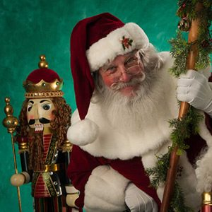 Stroudsmoor Tree Lighting for the holidays - Santa with a giant nutcracker