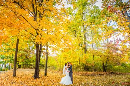 Couple in Autumn woods
