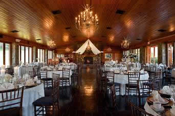 Lawnhaven dining hall with white table settings