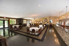 Ridgecrest dining hall with elegant floor and table settings