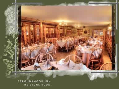 Dining hall with rows of tables surrounded in green frame with white accents reads Stroudsmoor Inn The Stone Room