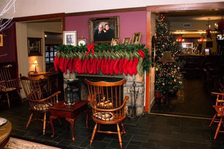 Stroudsmoor's Main Inn with Stockings Over Fireplace - Christmas