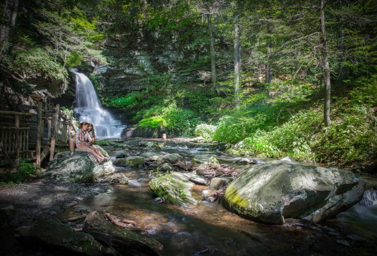 Couple waterfall romance