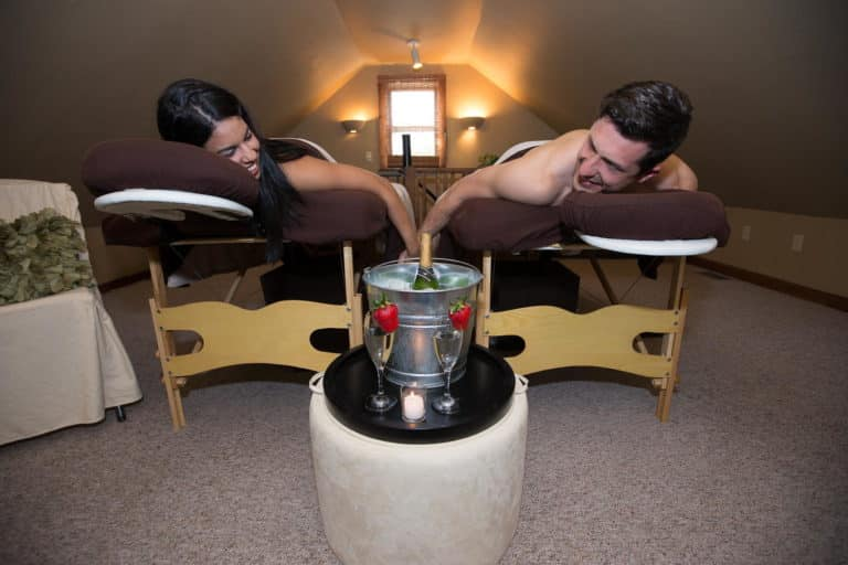 Relaxing couple's massage at the spa