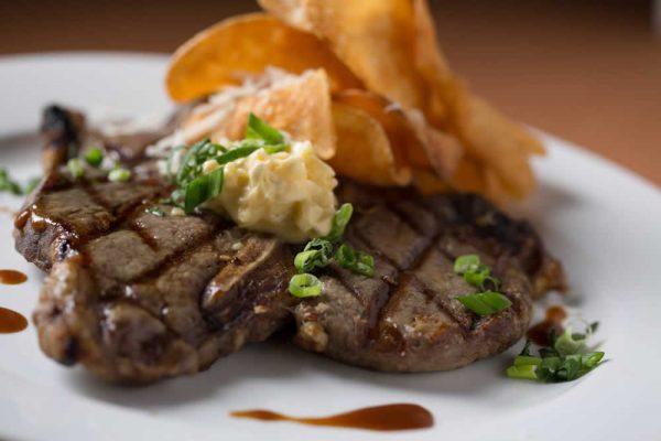 Close up of steak dinner plate